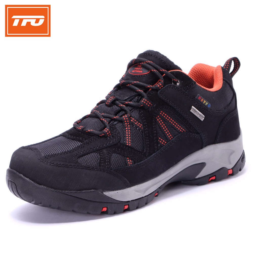 TFO Men Mountain Climbing Shoes Trekking Waterproof  Breathable Sneakers Male Hiking Shoes Genuine Leather Men's Shoes