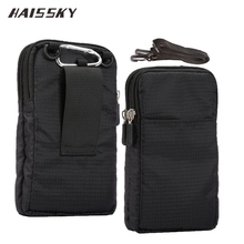 все цены на HAISSKY New Sports Wallet Mobile Phone Bag For Multi Phone Model Hook Loop Belt Pouch Holster Bag Pocket Outdoor Army Cover Case