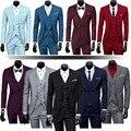 Mens Jaqueta de Três Peças Conjunto Clássico Colete Formal de Trabalho Vestido de Casamento Do Noivo Terno (jacket + pants + + vest)