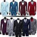 Mens Three Piece Classic Set Vest Formal Working Jacket Groom Wedding Dress Suit (jacket + pants + + vest)