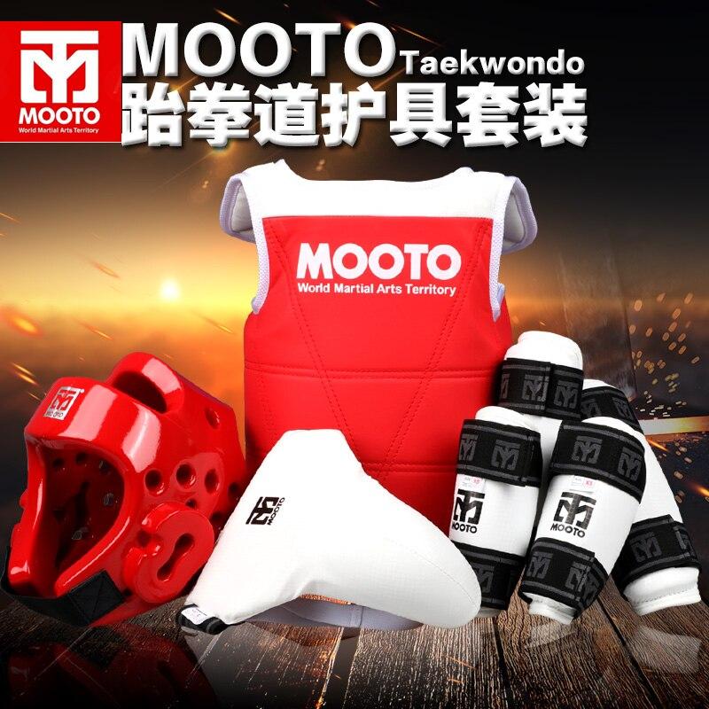 MOOTO Taekwondo Hommes Femmes Épaississement WTF Karaté Protecteurs Du Sein pad Garde-Bras Shin gardes Partisan Casque Bleu et Rouge #1-#4