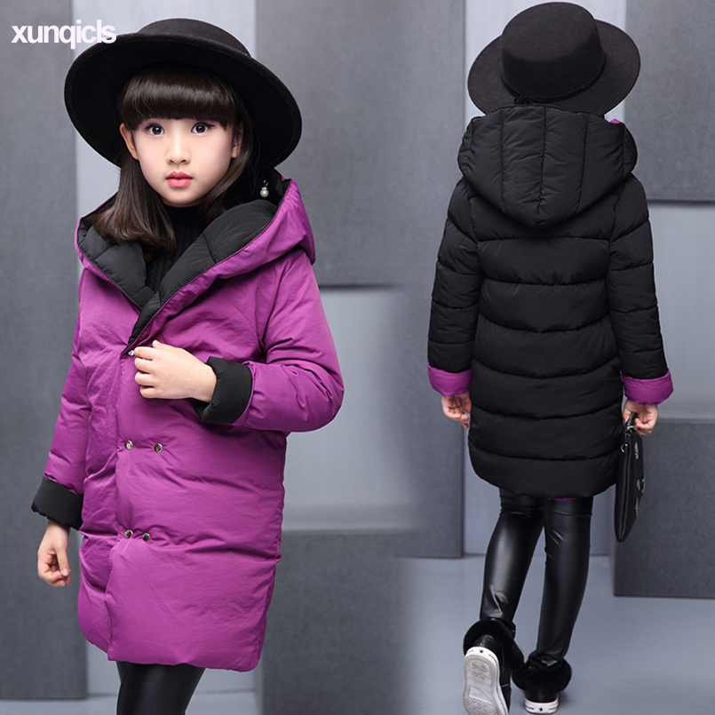 цены 2018 Winter Children Down Parkas Girls Long Warm Coat Fashion Kids Cotton-padded Clothes Baby Clothing