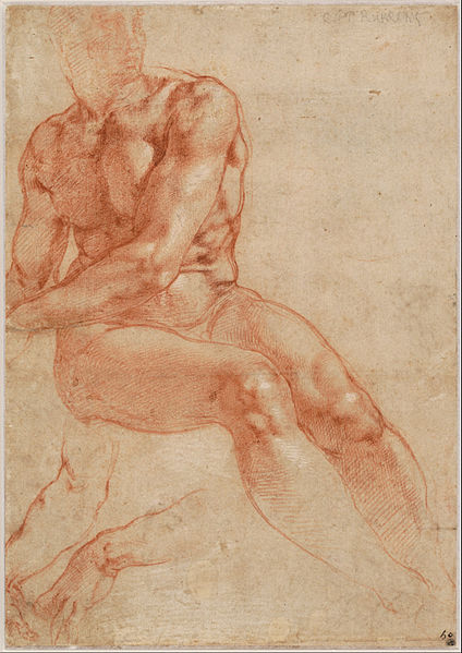 Canvas Art Prints Stretched Framed Painting Michelangelo Buonarroti Seated Young <font><b>Male</b></font> <font><b>Nude</b></font> Two Arm <font><b>Studies</b></font> Recto C 1510-11