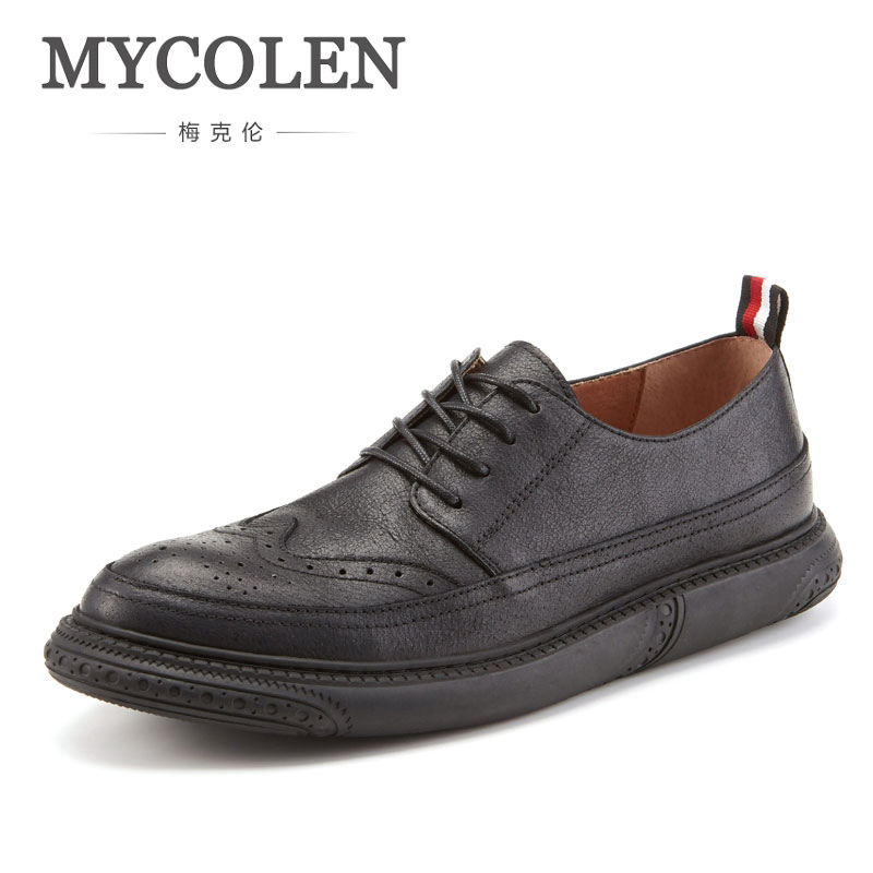MYCOLENS Fashion Brand MenS Business Dress Brogue Shoes For Wedding Party Retro Leather Black Round Toe MenS ShoesMYCOLENS Fashion Brand MenS Business Dress Brogue Shoes For Wedding Party Retro Leather Black Round Toe MenS Shoes