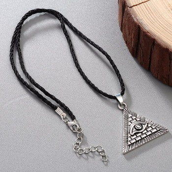 CHENGXUN Egyptian Egypt Pyramid All-Seeing Evil Eye Charm Pendant Men Necklace Geometric Triangle Collier Male  1