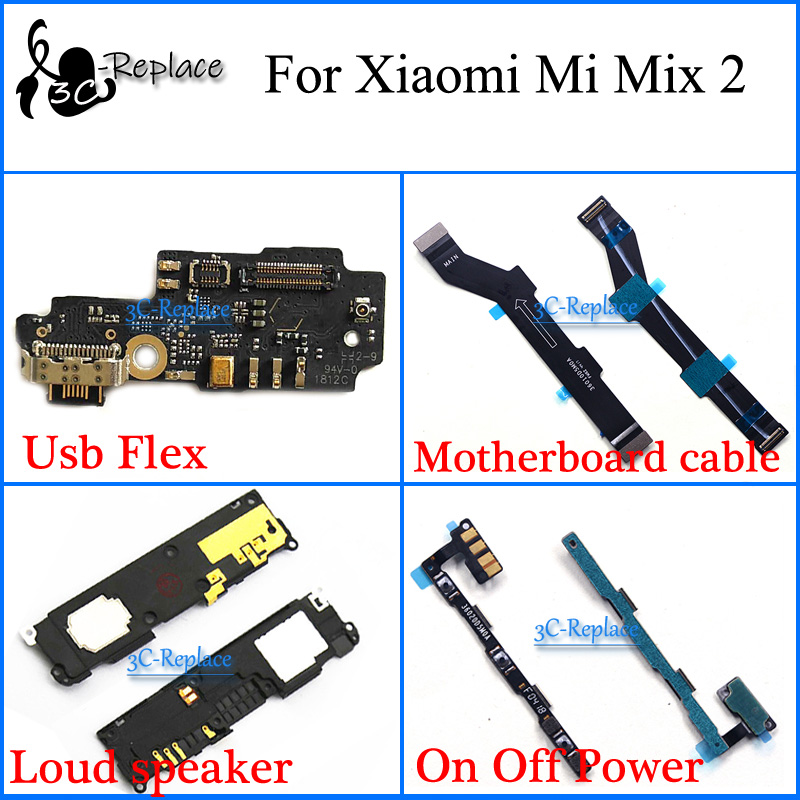 For Xiaomi Mi Mix 2 MDE5 Usb Flex Motherboard cable Loud speaker On Off Power Flex Cable storage cable