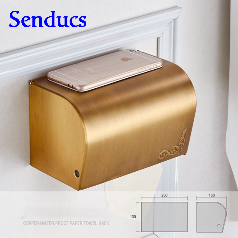 Free shipping Senducs cheap price roll paper holder with wall mounted antique roll paper box holder by brass paper boxes
