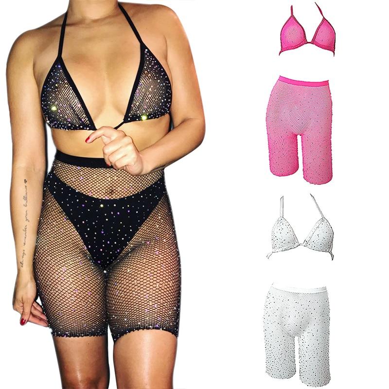 Women's Underwear Sexy Hot Drilling Fishnet   Bra     Set   Temptation Brassiere Fishnets   Bra   & Leggings   Sets   Rhinestone Lingerie Outfit
