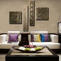 Pintado a mano abstracta arte de la lona de la vendimia bronce Pared Gruesa lona Pintura Sala decoraciones muebles piezas imagen