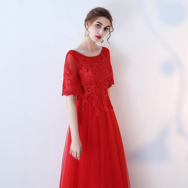 placeholder Fashion Red Plus Size Evening Dresses Long 2018 New Sexy Formal  Dress Scoop Tulle Appliques Lace 42a5bd7c58f4