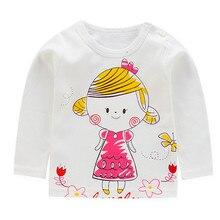 Футболка для маленьких девочек; хлопковая футболка с длинными рукавами для девочек; сезон осень-весна; Милая футболка с рисунком; модные топы для девочек