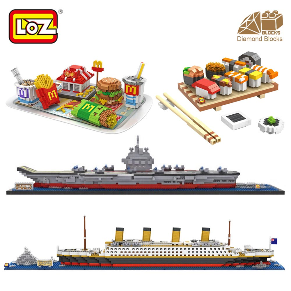 LOZ Diamond Blocks Food Model Creator Building Block Set Toys Figure Mini Mcdonald Brick DIY Assembly Pixel Titanic Ship Boat loz diamond blocks dans blocks iblock fun building bricks movie alien figure action toys for children assembly model 9461 9462