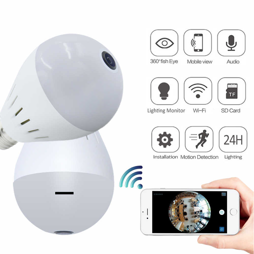 ASZHONGA Bulb Lamp Wireless Wifi IP Camera 1080P 960P 360 Degree Panoramic  FishEye Mini Home Security CCTV Camera 3D VR Burglar