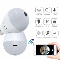 1080P HD 2MP Panoramic Bulb Light Wireless IP Camera Wi FI FishEye Baby Monitor Mini Lamp