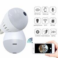 1080P HD 2MP Panoramic Bulb Light Wireless IP Camera Wi FI FishEye Baby Monitor Mini Lamp