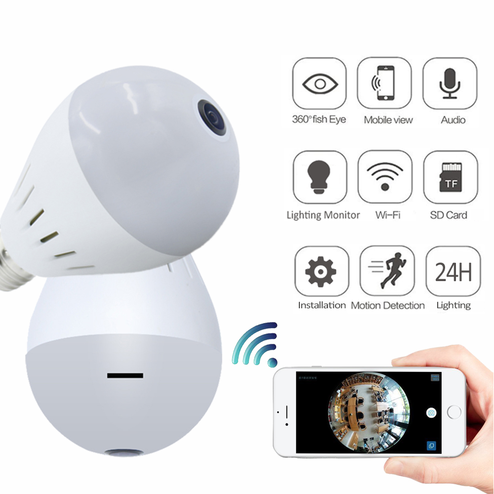 Bulb Lamp Wireless IP Camera Wifi 1080P Panoramic FishEye Home Security CCTV Camera 360 Degree 3D VR Security Bulb wifi camera