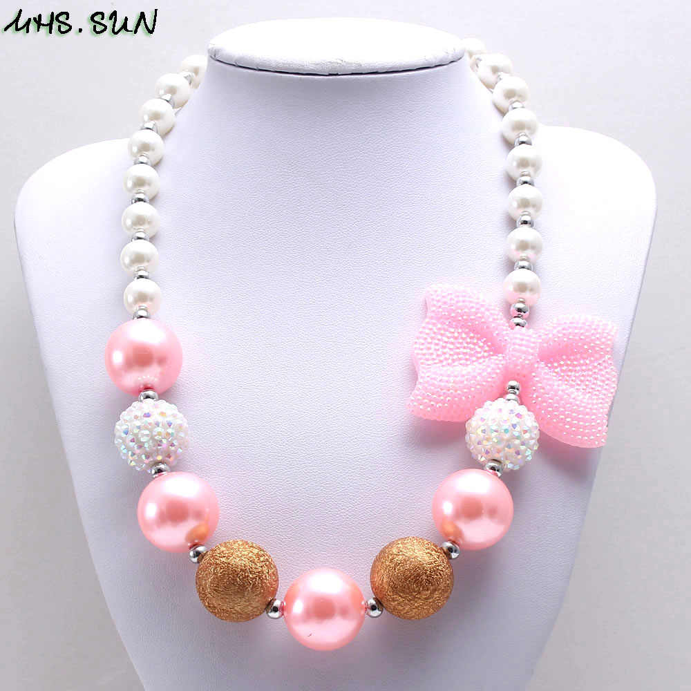 MHS.SUN cute baby girls pink bowknot necklace fashion kids chunky beads necklace handmade bubblegum jewelry gift for child toy