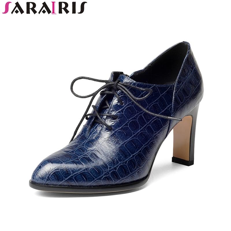 SARAIRIS 2018 Spring Autumn Genuine Leather Lace-Up Pumps Western Style Shallow High Square Heel Women Shoes Size 34-39 europe america style spring autumn women genuine leather thin high heel lace up low cut fashion denim shoes size 34 41 sxq0709
