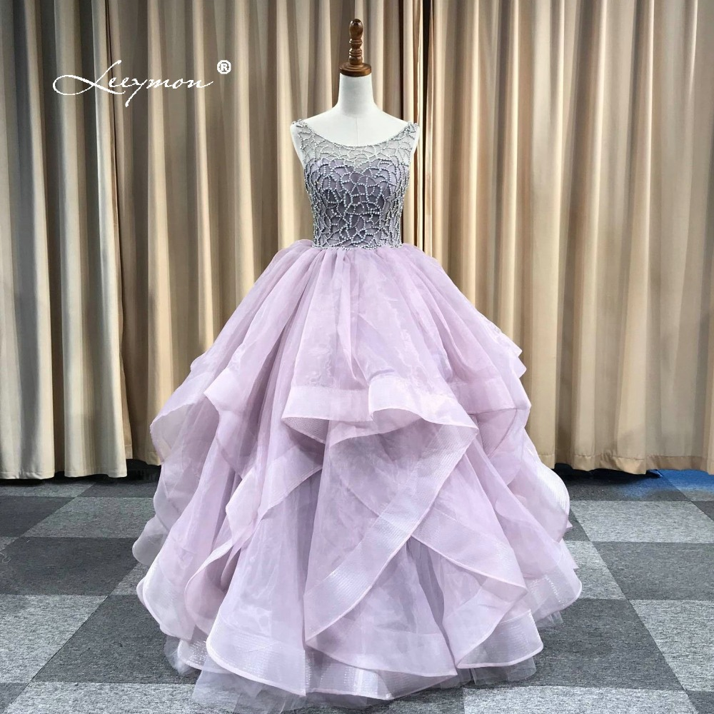 Leeymon Sexiga Backless Luxury Rhinestones Crystal Evening Dress Light Lila Ruffles Floor Length Prom Dresses Real Pictures