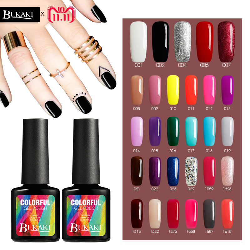 BUKAKI Pure Colors Painting Gel Nail Polish Colorful