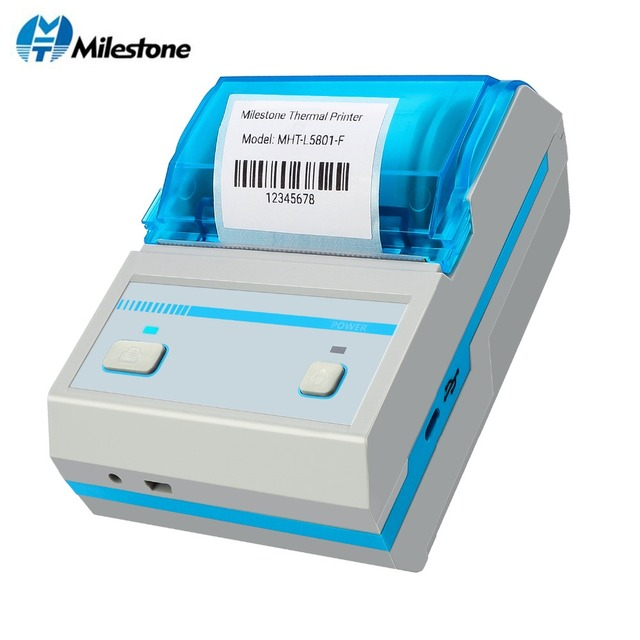 Kamień milowy drukarka termicznych kodów paskowych druk naklejki MHT-L5801 wsparcie Android IOS Mini bezprzewodowa drukarka Bluetooth drukarka do etykiet