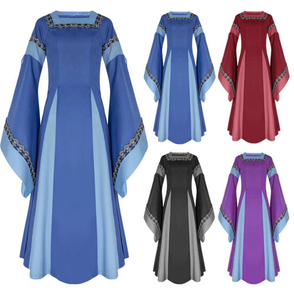 European Medieval Vintage Costume Women Long Gown Dress Pagoda Sleeve Square Neck Ball Gown Retro Feminina Renaissance Costume