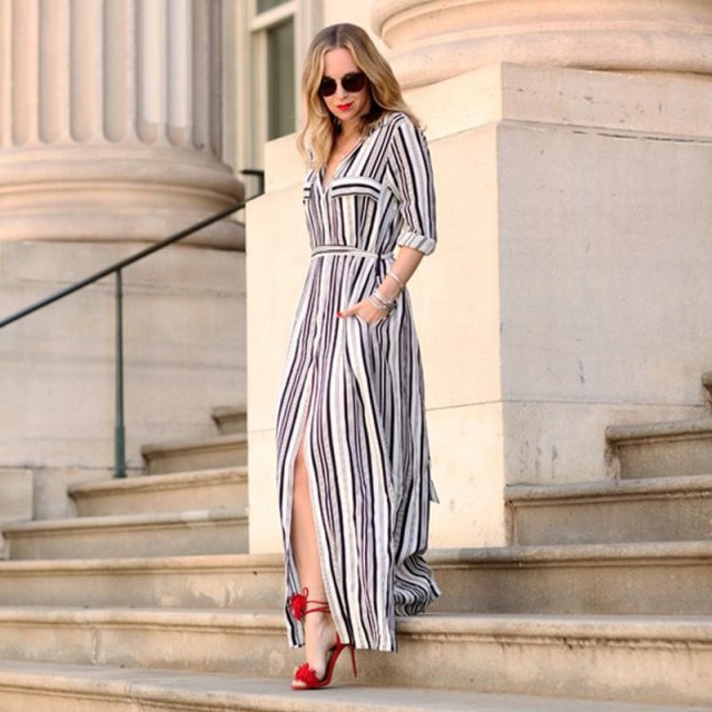 582a473f88965 US $13.99 |Women Sexy Long Sleeve Turn down Dress Black White Striped  Vintage Sashes Femme Vestidos Maxi Dresses-in Dresses from Women's Clothing  on ...