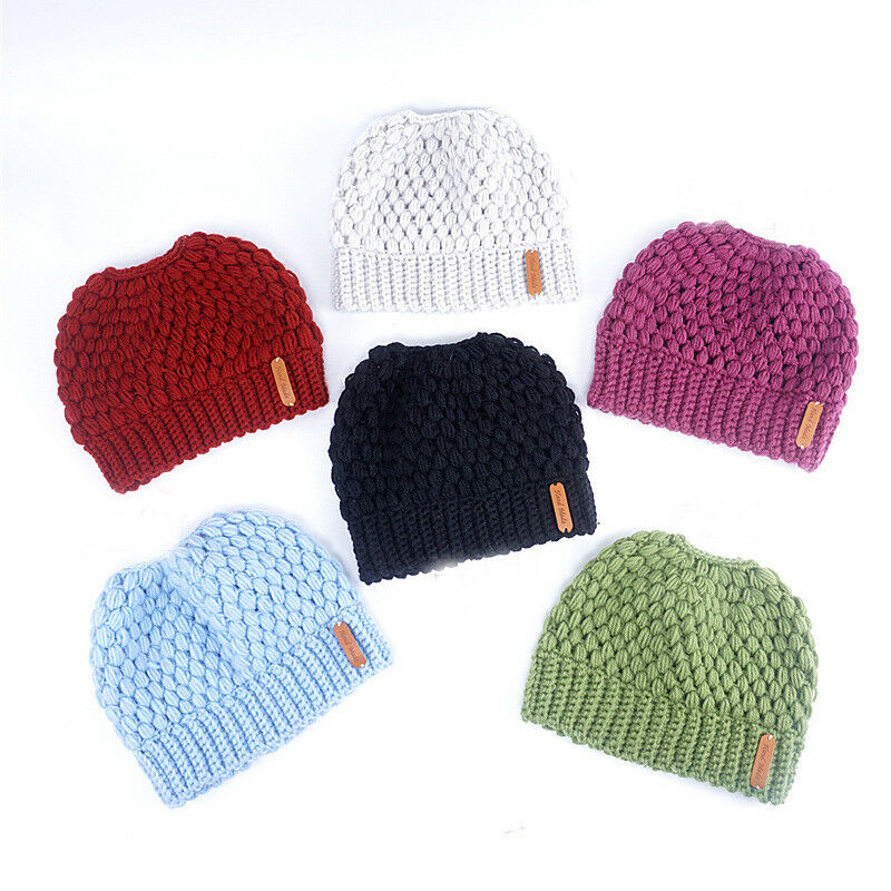 Winter Knitting Hats Winter Women Hat Ladies Girl Stretch Knit Hat With Tag Messy Bun Ponytail Beanie Holey Warm Hats Caps 2