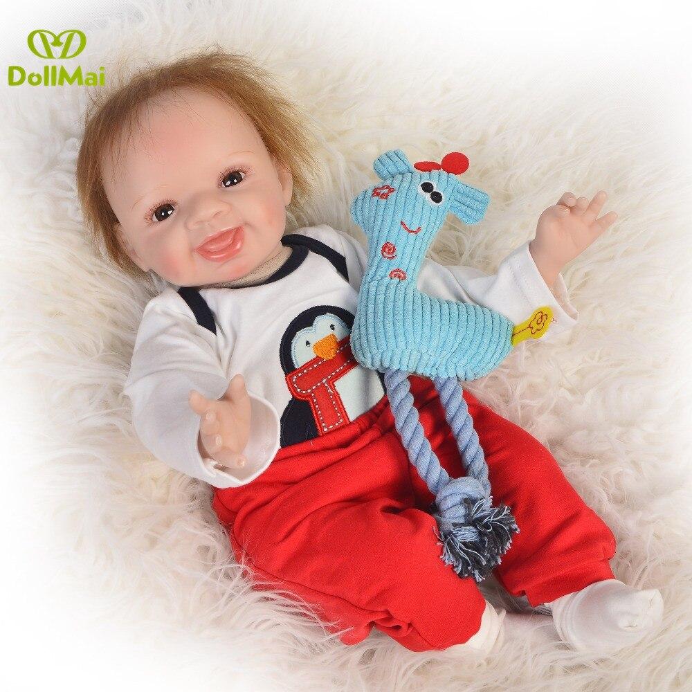 DollMai Doll Reborn 22inch 55cm real baby boy silicone dolls soft cloth body newborn babies alive bebe gift reborn bonecas
