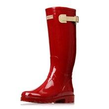 Rojo de Las Señoras Impermeables Botas de Lluvia de Goma Mujeres Transpirable Rodilla Manera de La Alta Calidad antideslizante Botas Rainboots Zapatos de Agua Femenina