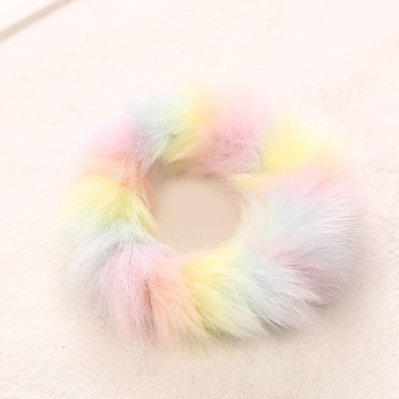 AIKELINA/Новинка; зимняя теплая мягкая резинка для волос из искусственного кроличьего меха для девочек и женщин; аксессуары для волос; Детская резинка; головной убор - Цвет: Light Colorful