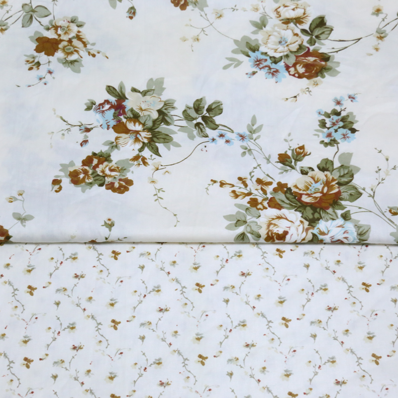 100% cotton twill cloth pastoral beige fabric brown floral printed for DIY kids bedding home textile dress handwork quilting