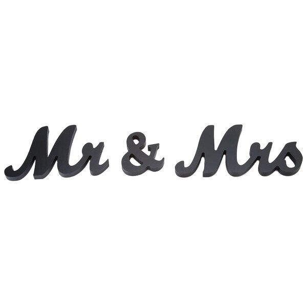 Мистер и миссис Деревянные Буквы Знак отдельно стоящие Свадьба топ декор стола центральным черный