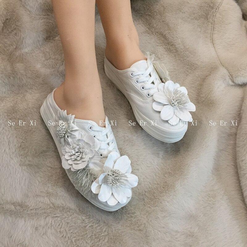 Chaussures en toile à fleurs, demi-pantoufles, chaussures blanches à semelles épaisses, chaussures en toile