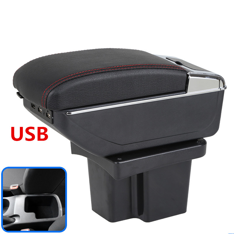 For KIA Cerato Forte armrest box car styling PU Leather central Store content box kia armrest box with cup holder USB interfac