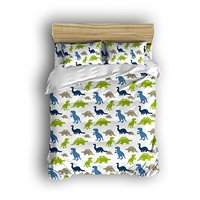 Dinosaur Prints Boys Kids Teen Bedding Set Duvet Cover Set Bedspread With Two Pillowcases Multi Colored