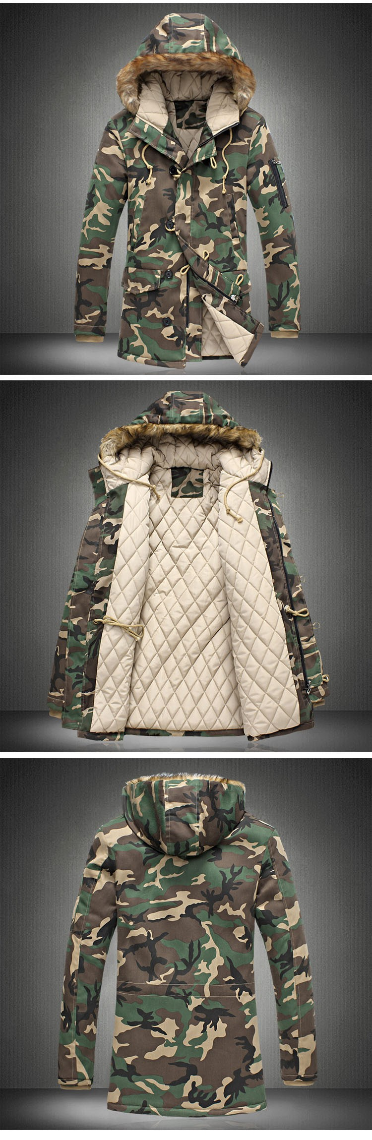 Aolamegs Camouflage Winter Parka Men Thicken Warm Fur Collar Cotton-padded Jacket Outerwear 2016 Lovers Hooded Winter Coat S-5XL (15)