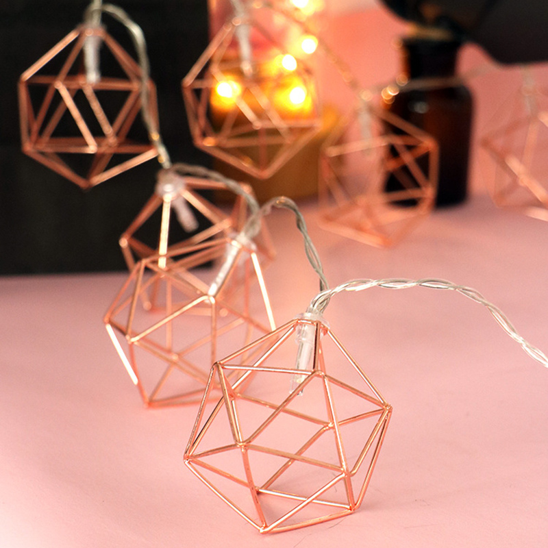 3M 20 LED Rose Gold Copper Wire LED String Light Iron Geometric Hexagons With 3*AA Battery  Adapter For Valentines Party Wedding