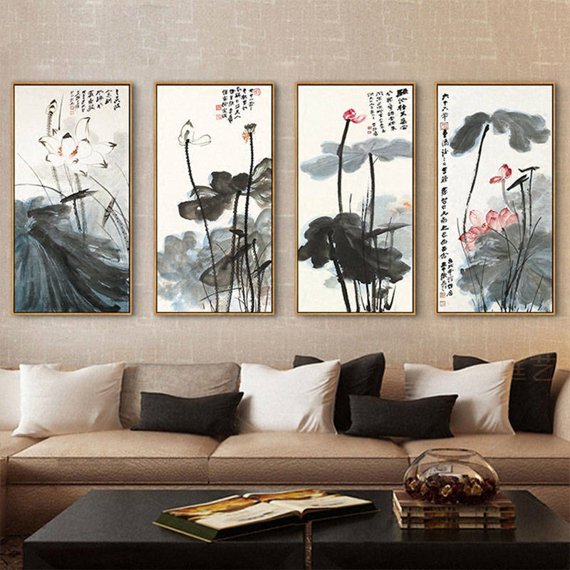 Image 2 - Chinese Ink Painting Print Canvas Zhang Daqian Artwork Lotus Flower Posters HD Print Wall Art Picture for Living Room Decoration-in Painting & Calligraphy from Home & Garden