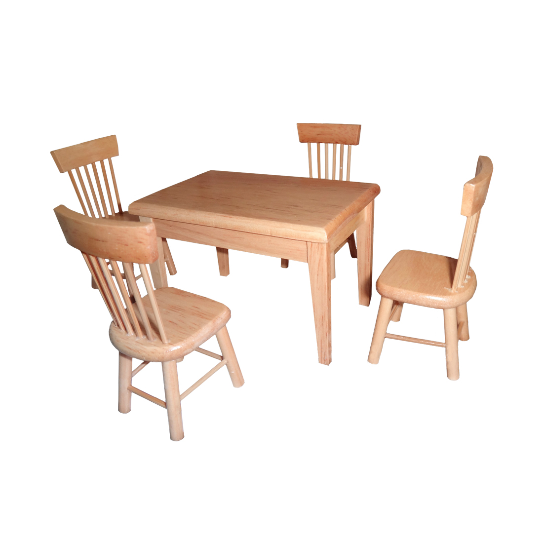 Surwish 1:12 Birch Children DIY Play & Pretend Toys Dining Table and Chair Set for Kid Playing Kitchen Kits