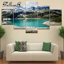 FULLCANG 5 piece diy diamond painting natural landscape lake full square/round drill mosaic embroidery multi-picture kit FC706