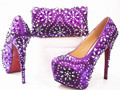 African Style Nice-looking Italian matching shoes and bag set ladies shoes and bag to match for Nigerian wedding GF14 Purple