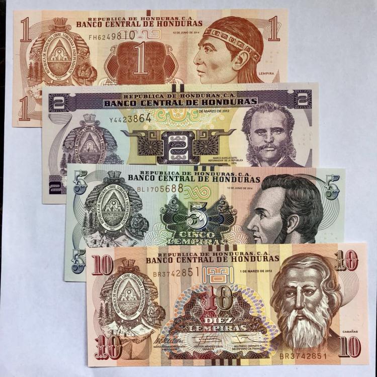 1 2 5 10 Lempira Unc Sammlerstücke Rechnung Papier Geld Banknote Original P-86 89 90 91 Realistisch Honduras Set 4 Pcs Banknoten Random Jahr