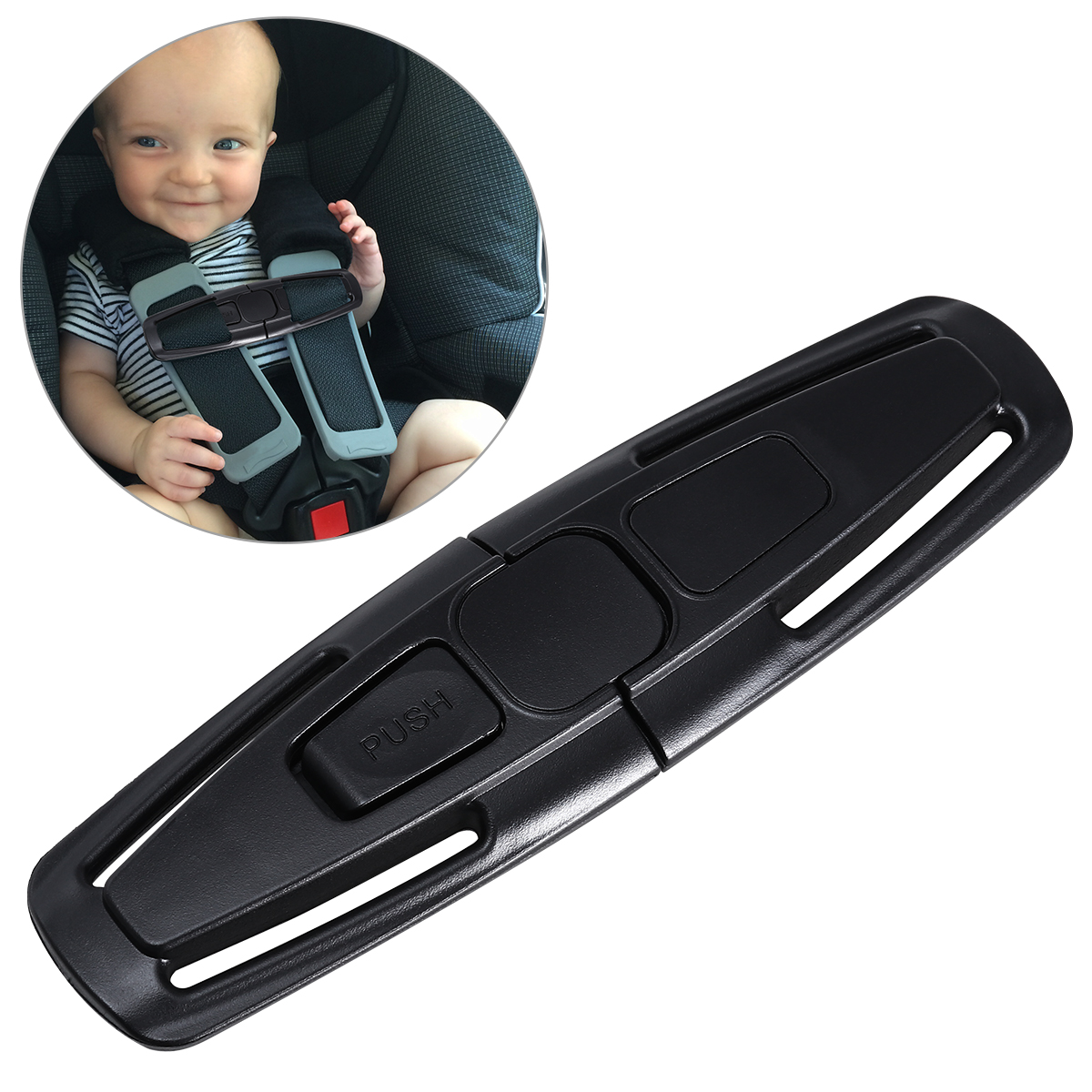 NUOLUX Car Safety Seat Strap Belt Harness Chest Clip Safe Buckle for Baby (Black)