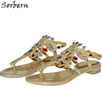 Sorbern 2 5CM Flat Roman Women S Bohemian Sandals Crystal Ladies Party Shoes Rhinestone Sandalias Mujer