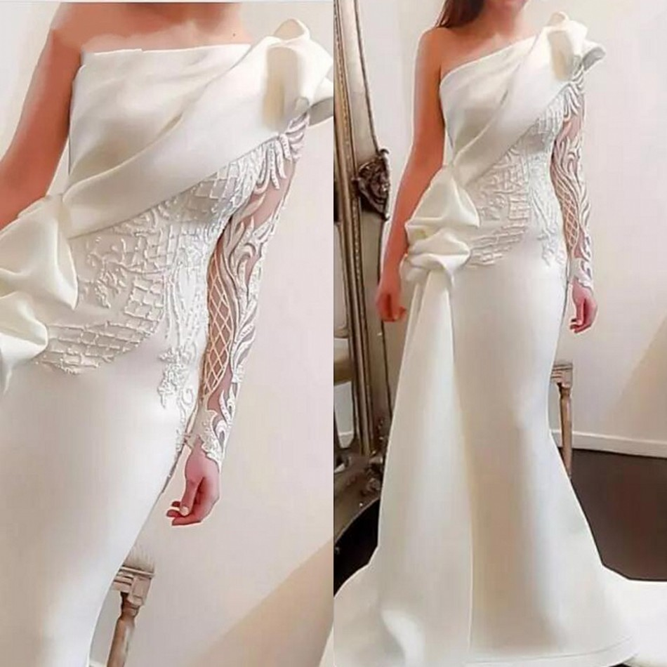 Arabian   Evening     Dresses   To Party abiye gece elbisesi Long   Evening   Gowns One Shoulder Vestido Longo De Festa robe de soiree