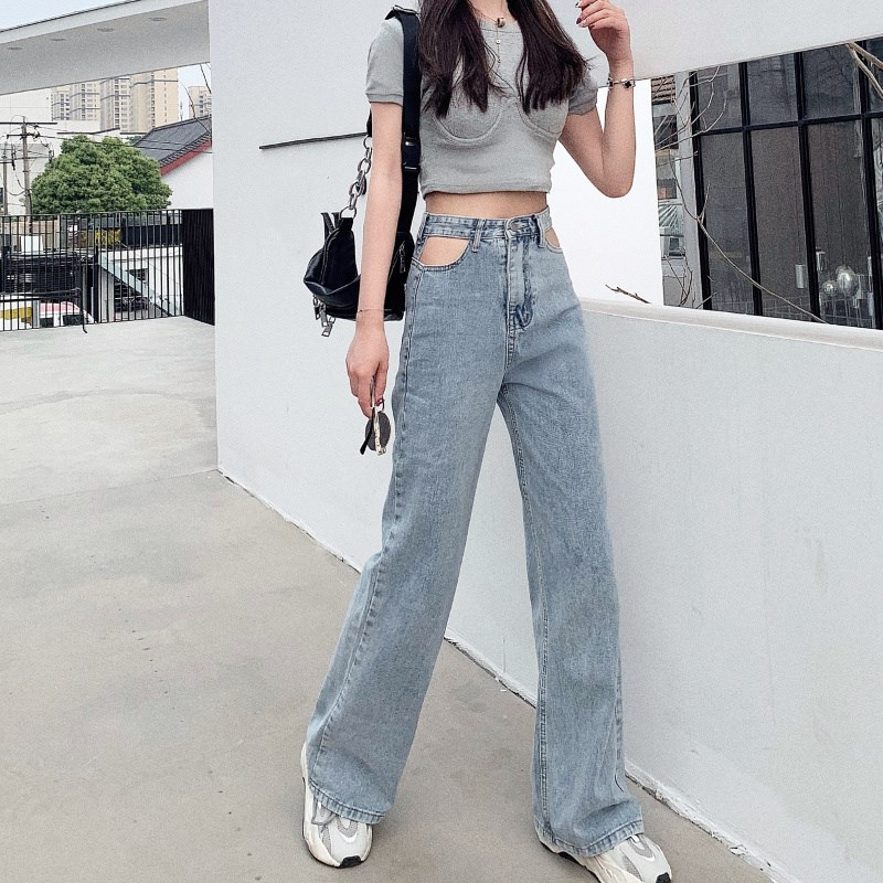 Woman Streetwear Hollow Out Jeans Casual Denim Wide Leg Pants Loose Solid High Waist Pants