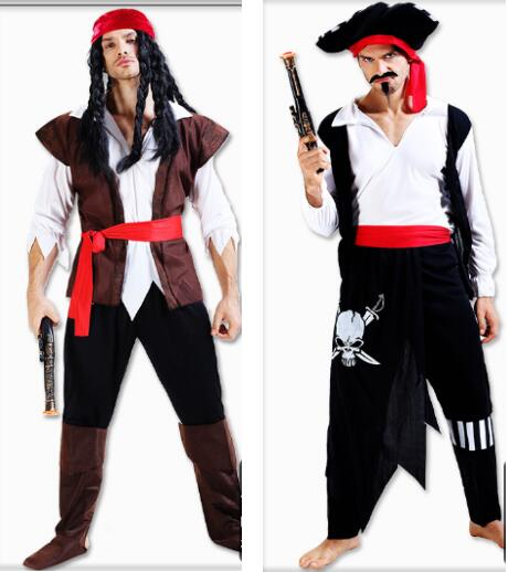 Adult Halloween Costume Caribbean Pirates Costume for Men Captain Jack Cosplay Costumes Horror Play Fancy Dress Masquerade