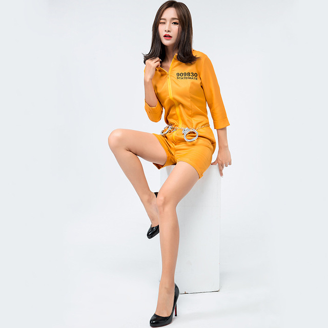 New Sexy Adult Female Orange Prisoner Cosplay Halloween Costume Policewomen  Uniform Temptation Play Clothes Party Clothes