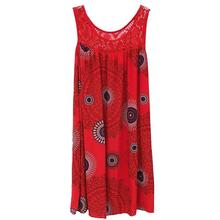 цена на Loose Sleeveless Mini Dress Women New Fashion Lace Stitching Print Summer Dress O Neck Hollow Out Beach Short Dress S-5XL